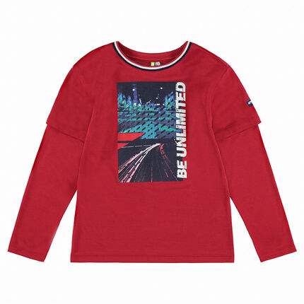 Junior - Long-sleeved 2-in-1 effect tee-shirt with print in front