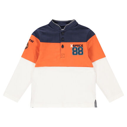 Long-sleeved tricolored polo shirt with embroidery and mandarin collar