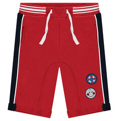 Fleece bermuda shorts with ©Smiley badge patches