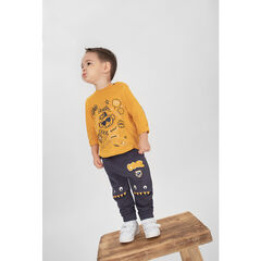 Long-sleeved yellow tee-shirt with trendy printed motifs