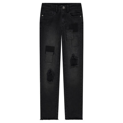 Junior - Slim fit distressed jeans with patches