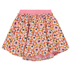 Frilled skirt with allover printed flowers