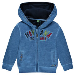 Zipped hooded fleece jacket with embroidered messages