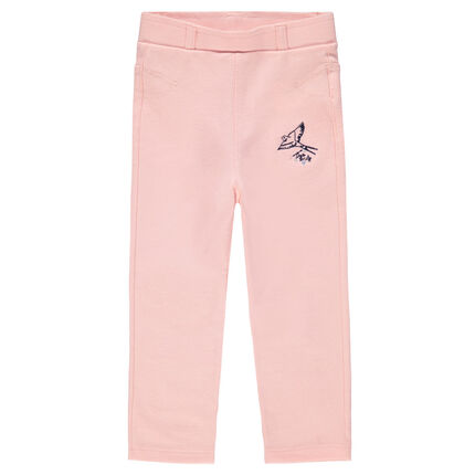 Fleece jeggings with embroidered bird