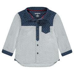 Long-sleeved shirt with jacquard motifs