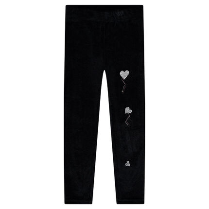 Panne velvet leggings with embroidered hearts