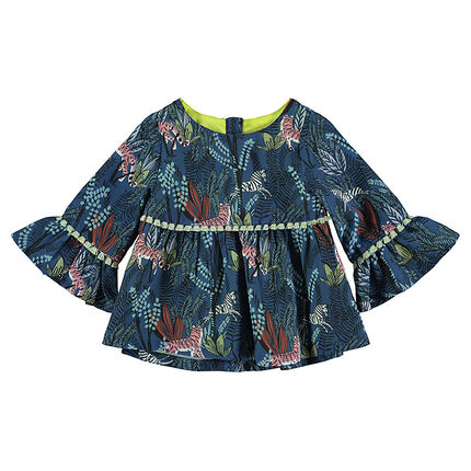 Printed tunic with flared sleeves and pompoms