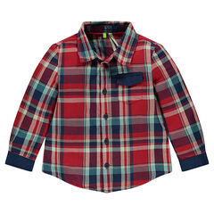 Long-sleeved shirt with contrasting checks