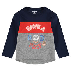 Long-sleeved tricolor tee-shirt with neon printed messages