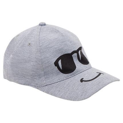 Fleece cap with printed glasses