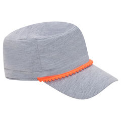 Fleece Cuban cap with contrasting pompom trim