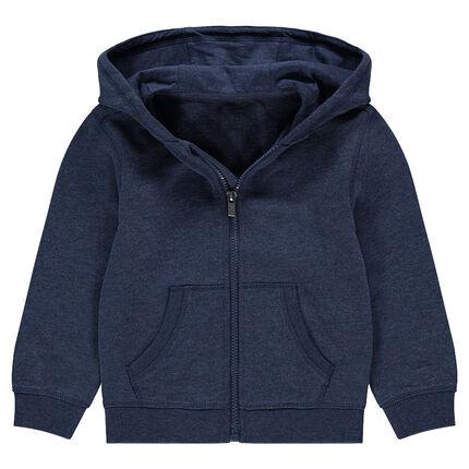 Plain-colored hooded fleece jacket