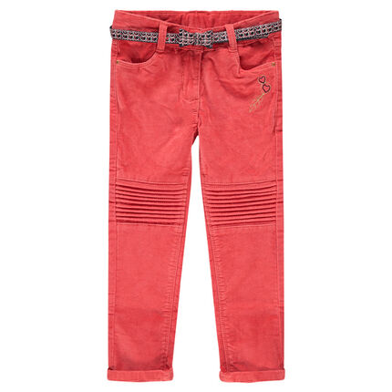 Coral pink ribbed velvet pants with a wax print belt