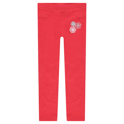 Red jersey leggings with printed flowers