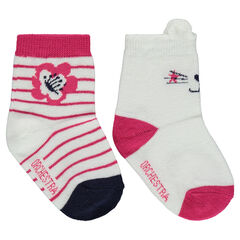 Set of 2 pairs of assorted socks with a jacquard cat motif / stripes