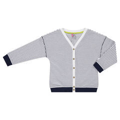 Thin knit cardigan with allover stripes