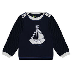 Striped knit sweater with a knit boat patch