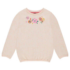 Nep-aspect fleece sweatshirt with printed flowers
