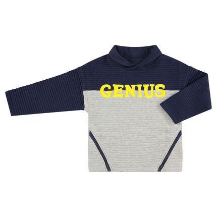 Ottoman fleece sweatshirt with printed word and slanted zippers