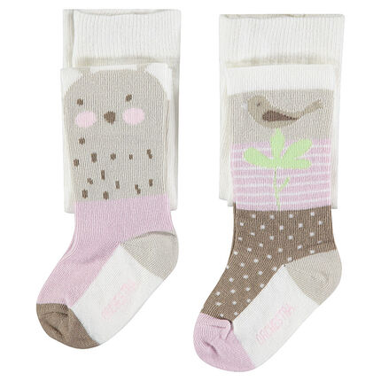 Set of 2 pairs of thick tights with jacquard animal and bird