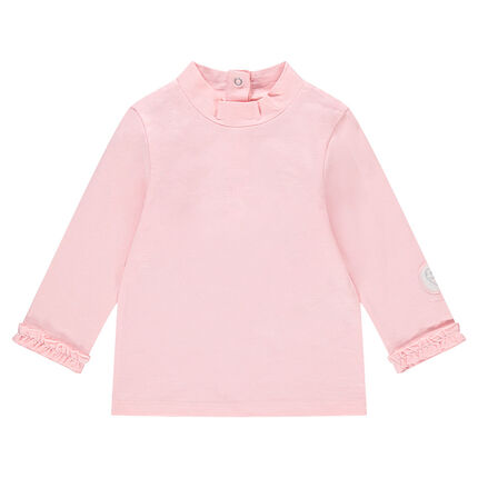 Fine gauge jersey sweater with heart badge and ruching