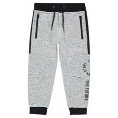Fleece sweatpants with zipped pockets and seamed details