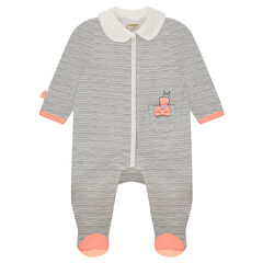 Sleeper in striped jersey with Claudine collar on the front and rabbit shape on the back