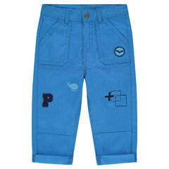 Twill pants with patch badges and embroidery