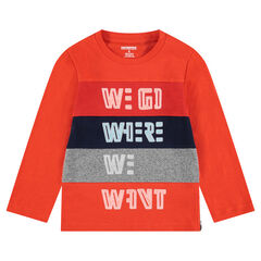 Long-sleeved jersey tee-shirt with patterned messages