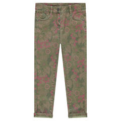 Printed slim fit twill pants