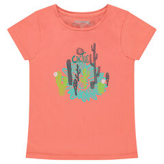 Short-sleeved jersey tee-shirt with decorative print
