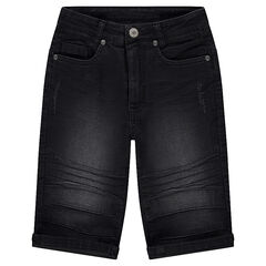Junior - Worn and crinkled-effect denim Bermuda shorts.