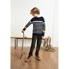 Junior - Contrasting stripe sailor top with messages