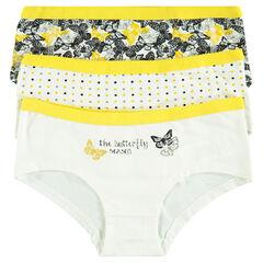 "Junior - Set of three ""polka dot and butterflies"" motif matching shorties"