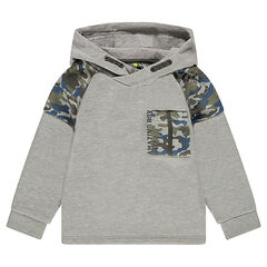 Hooded fleece sweatshirt with an army motif and pocket