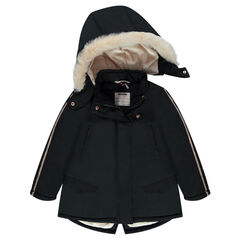 Long sherpa-lined parka with a removable hood