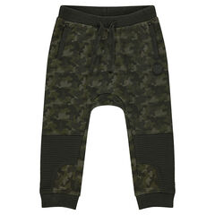 Fleece sweatpants with an army motif