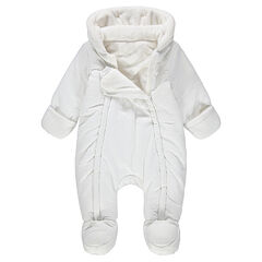 Sherpa-lined textured snowsuit with ears on the hood