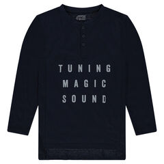 Junior - Long T-Shirt in Fancy Jersey with Embossed Text