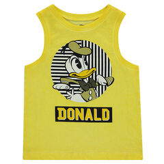 Over-dyed tank top with Disney Donald Duck print
