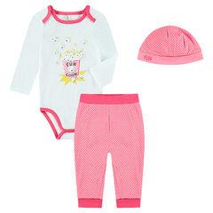 3-piece set with bodysuit, pants and cap for newborns