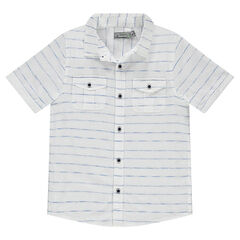 Junior - Short-sleeved, finely striped shirt with pockets