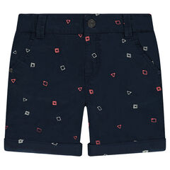 Twill bermuda shorts with an allover embroidered graphic print