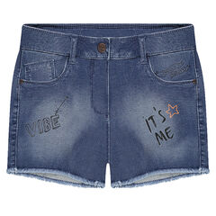 Junior - Used-effect denim-like shorts with decorative details