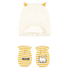 Sherpa-lined beanie and striped mittens with cat print set