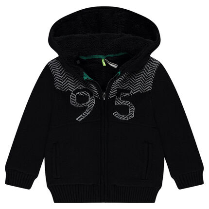Sherpa-lined knit jacket with hood
