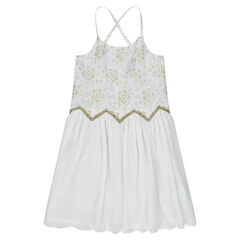 Dress with thin straps, lace flowers and golden hints