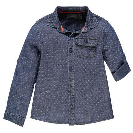 Long-sleeved shirt with a little allover motif