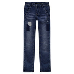 Junior - Distressed and crinkled-effect jeans with patches