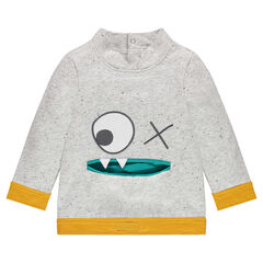 Sweatshirt in neps fleece with mouth-shaped pocket